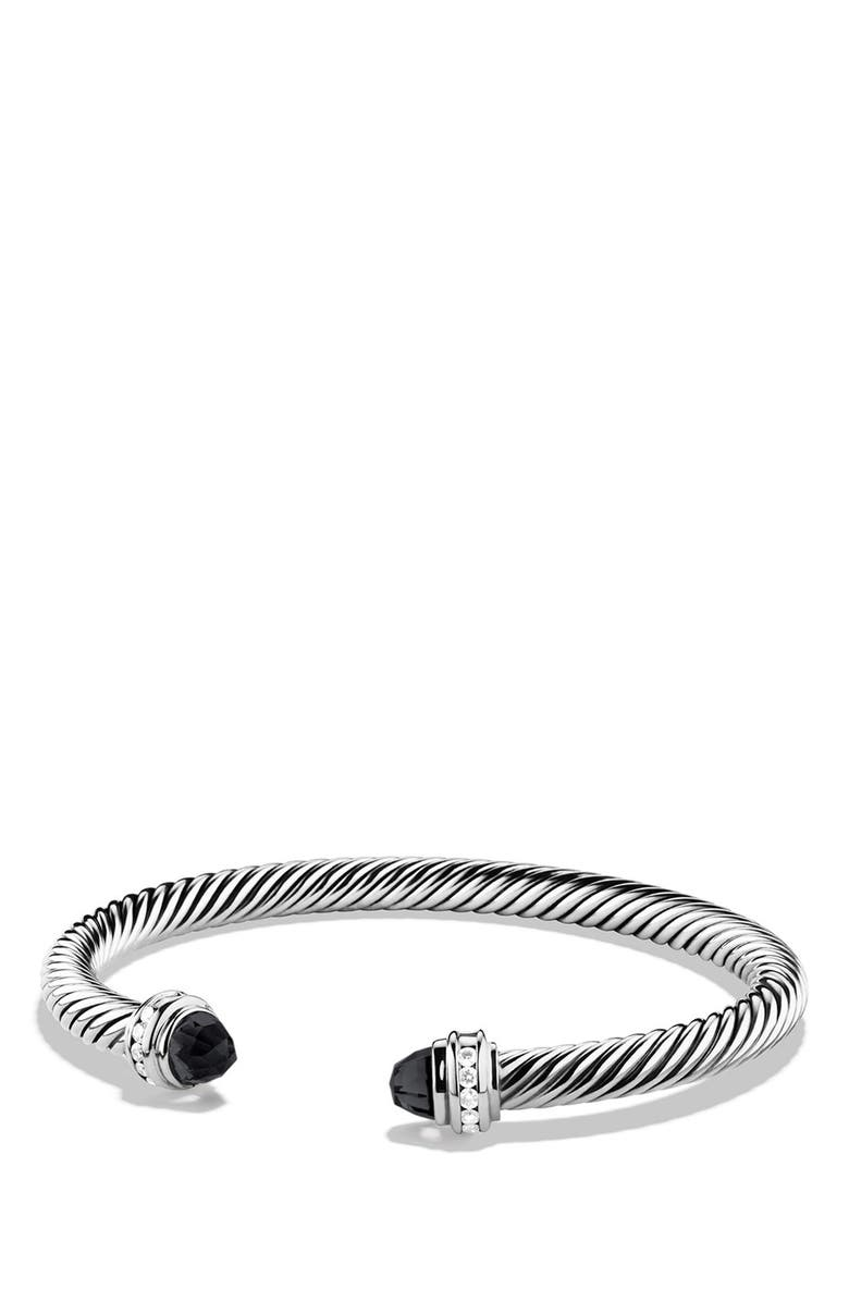 DAVID YURMAN Cable Classics Bracelet with Semiprecious Stones & Diamonds, 5mm, Main, color, BLACK ONYX