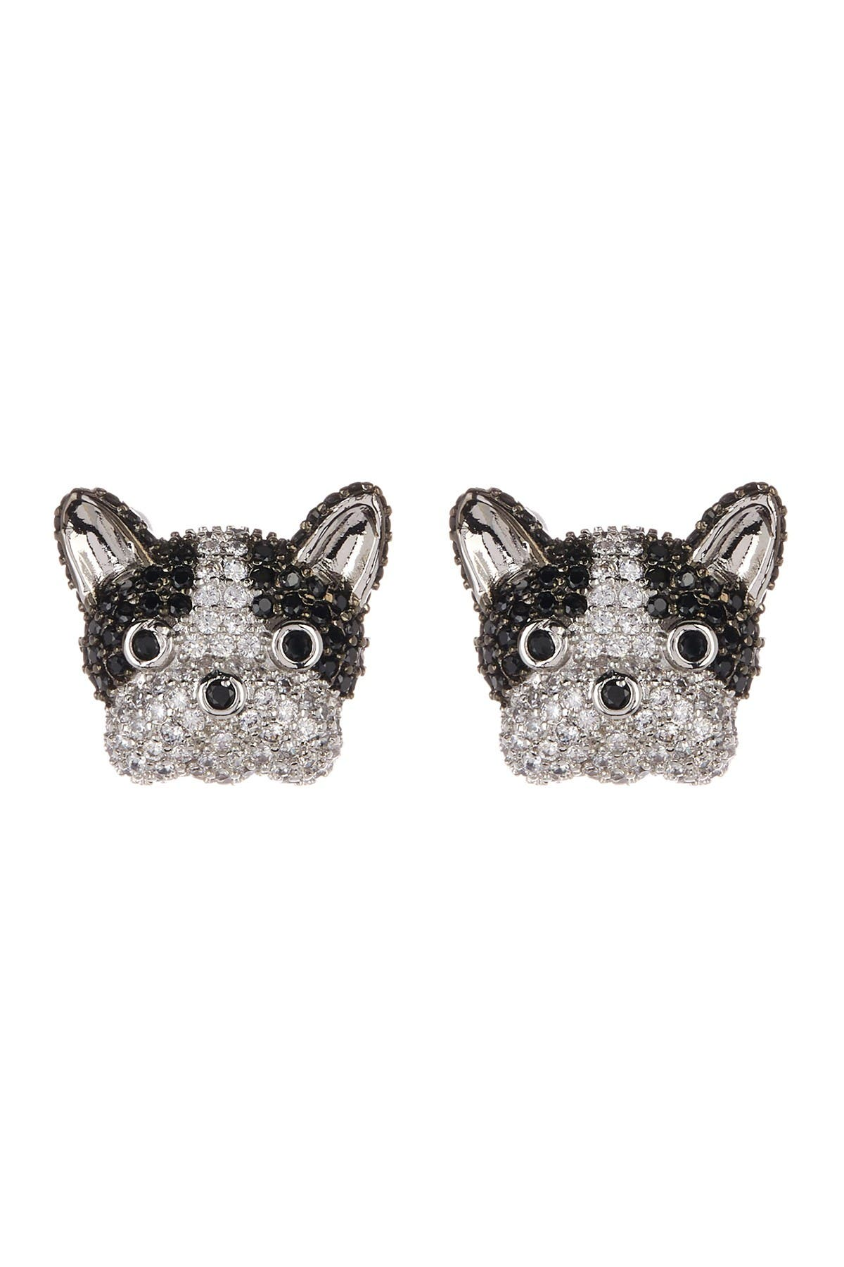 Image of Eye Candy Los Angeles Pave Crystal Frenchie Stud Earrings