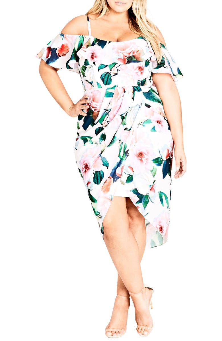 CITY CHIC Love Me Do Floral Cold Shoulder Dress, Main, color, 651