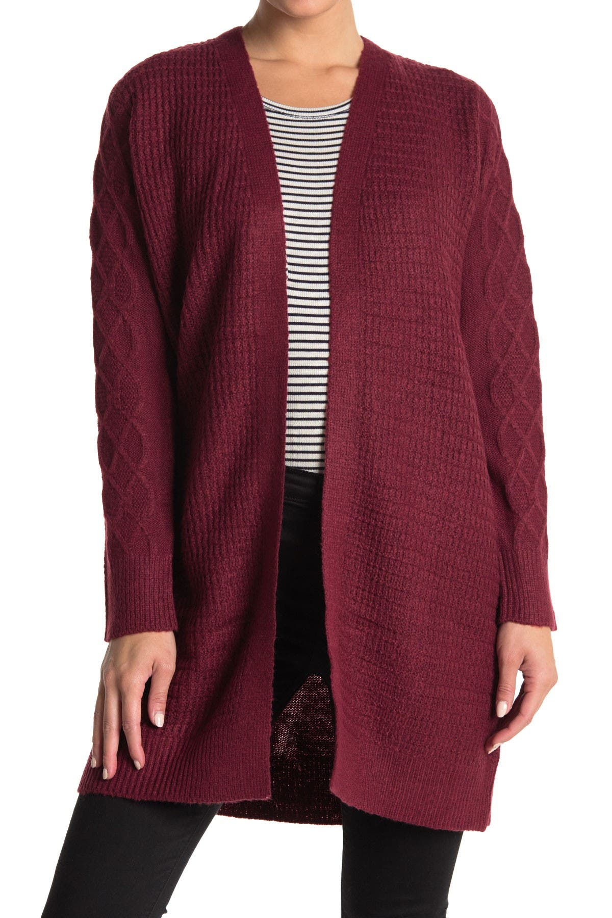 Image of Love by Design Arabella Cable Knit Trim Cardigan