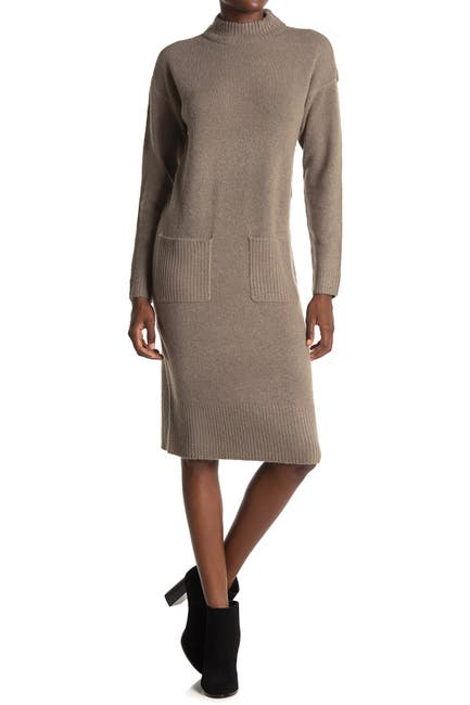 Image of Cloth By Design Mock Neck Patch Pocket Sweater Dress