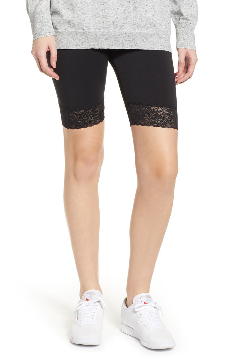 MAKE + MODEL Lace Trim Biker Shorts, Main, color, BLACK