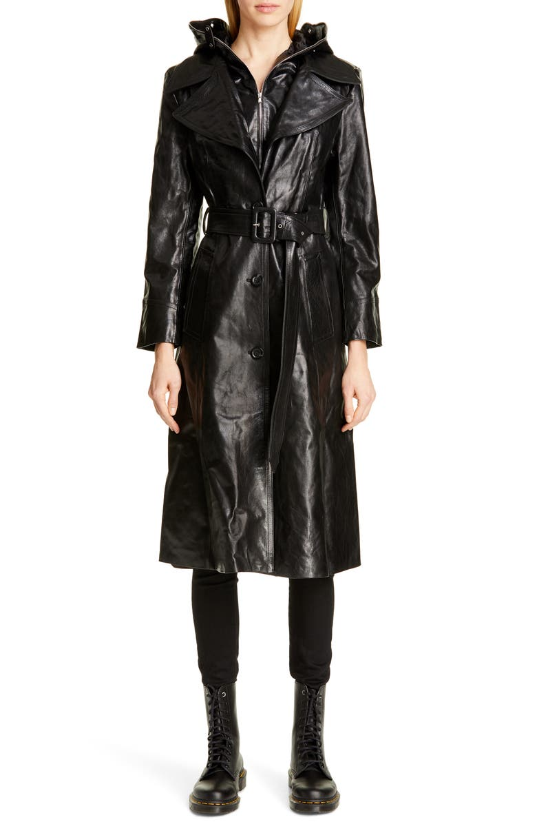 VETEMENTS Mask Leather Trench Coat, Main, color, 001