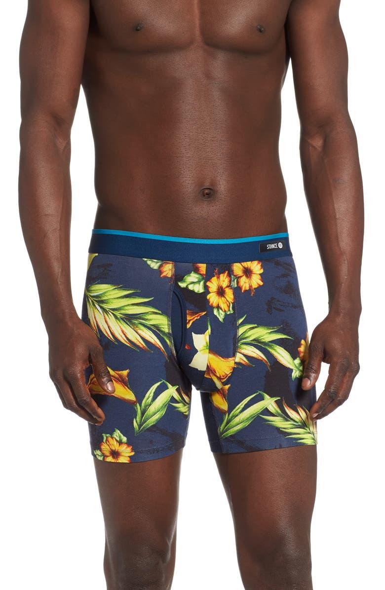 STANCE Hibiscus Smear Boxer Briefs, Main, color, NAVY