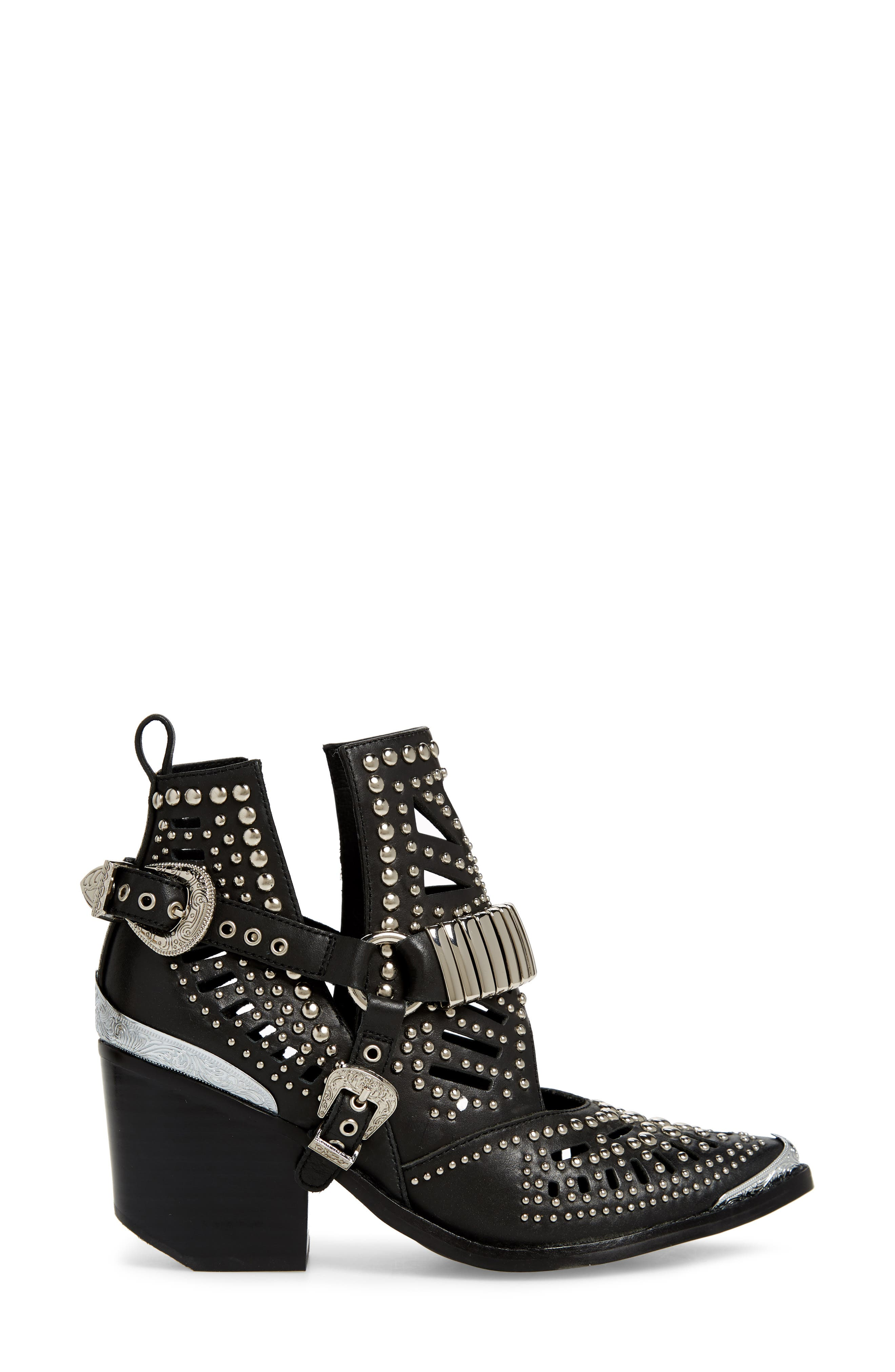 ,                             Wylie Studded Western Bootie,                             Alternate thumbnail 3, color,                             BLACK/ SILVER LEATHER