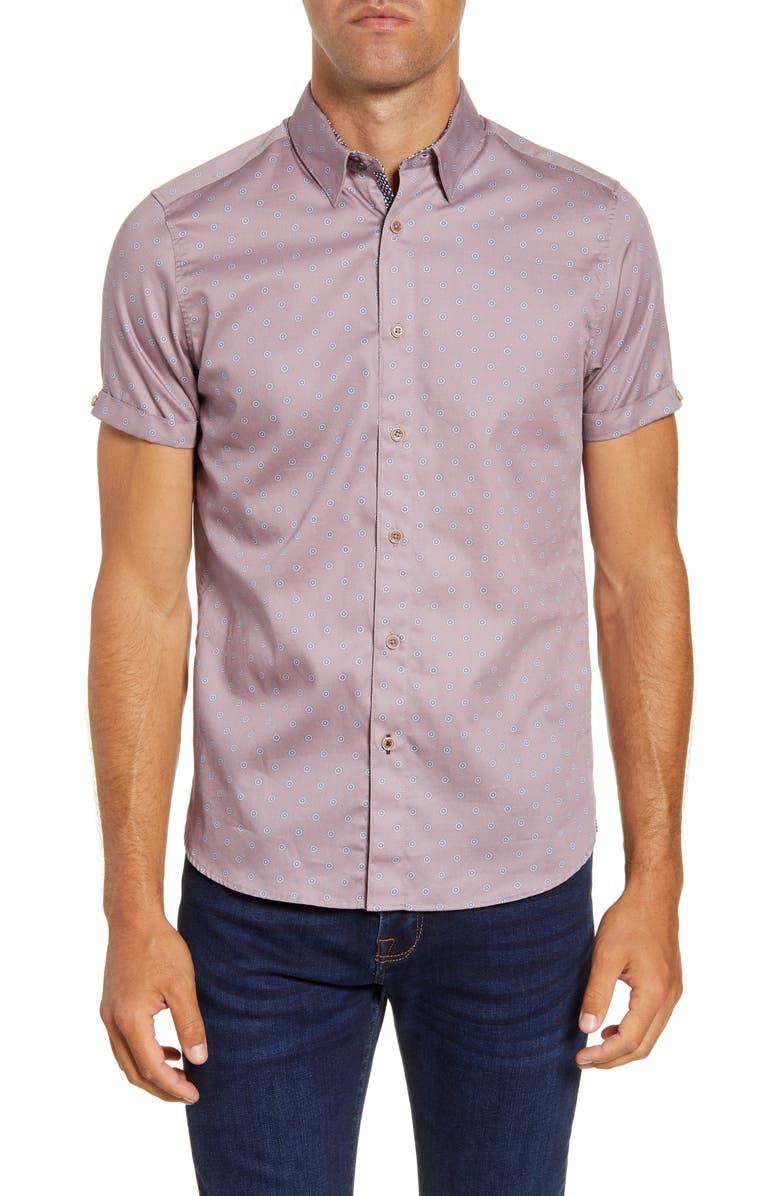 TED BAKER LONDON Lliam Slim Fit Short Sleeve Button-Up Shirt, Main, color, PINK