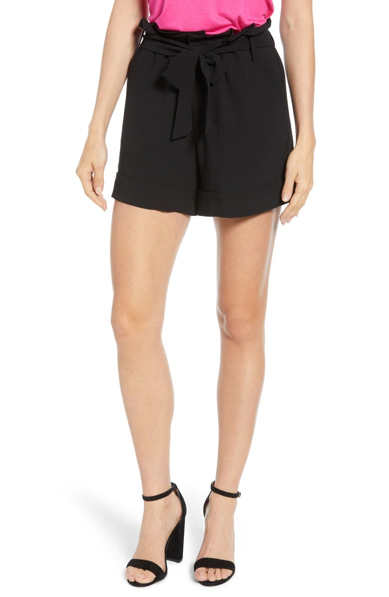GIBSON x Living in Yellow Ivy Paperbag Tie Waist Shorts, Main, color, BLACK