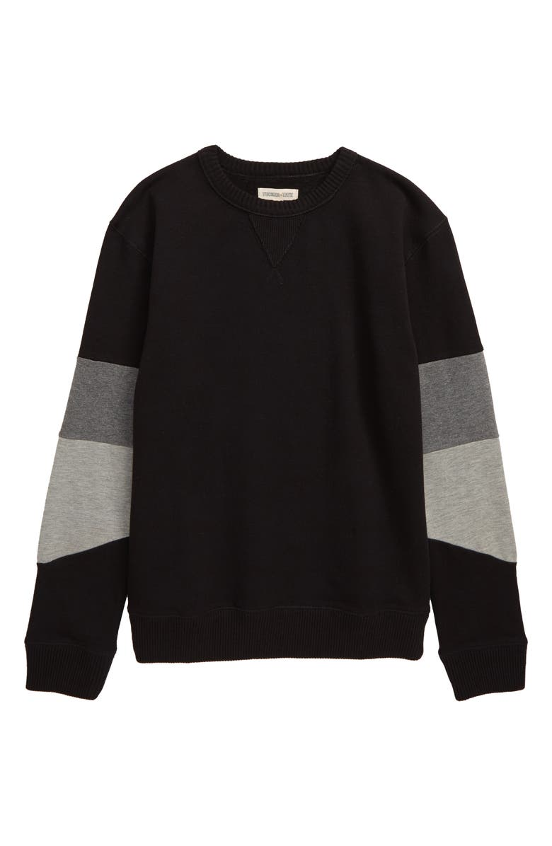 TUCKER + TATE Block Sleeve Sweatshirt, Main, color, BLACK