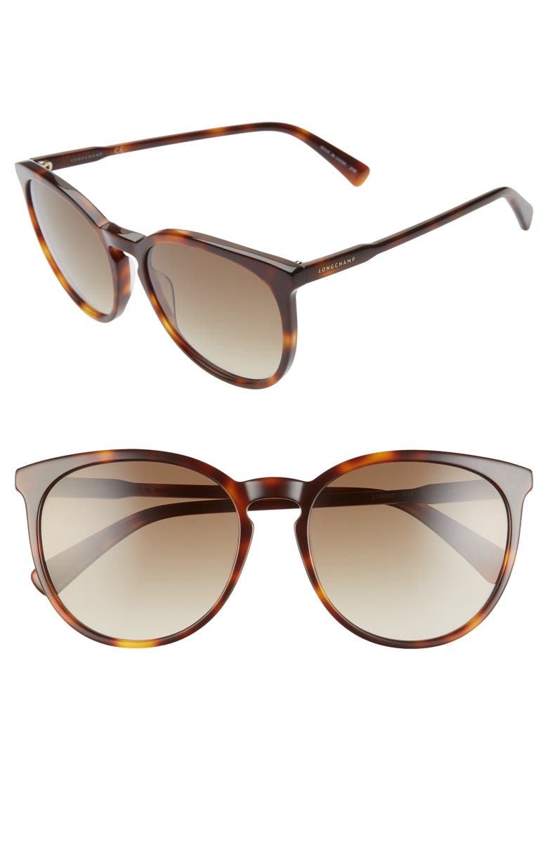 LONGCHAMP 56mm Round Sunglasses, Main, color, HAVANA/ GREY