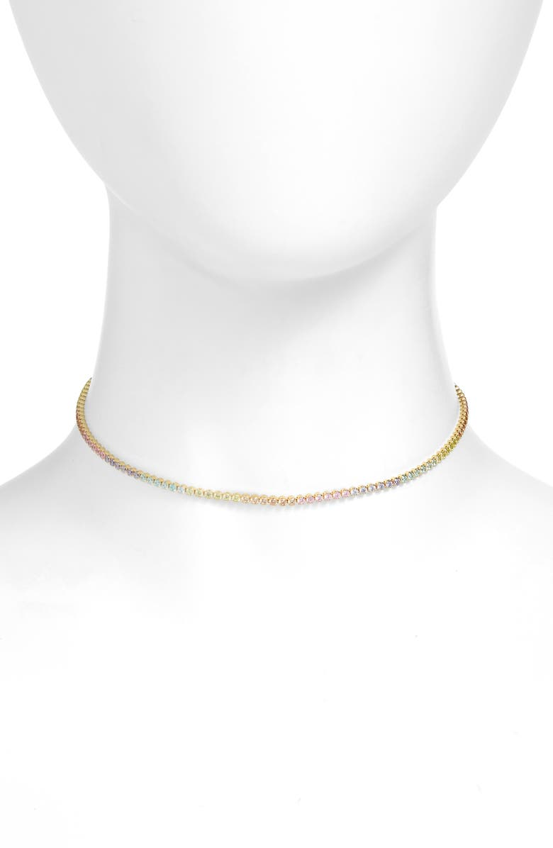 ADINA'S JEWELS Adina's Jewels Pastel Rainbow Tennis Choker Necklace, Main, color, GOLD