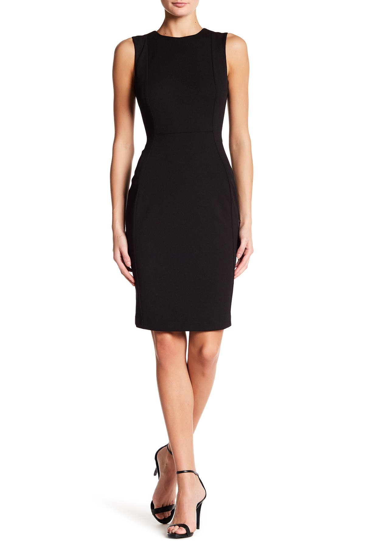Image of Calvin Klein Solid Scuba Crepe Sheath Dress