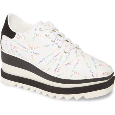 Stella Mccartney Sneak Elyse Logo Print Platform Sneaker, White