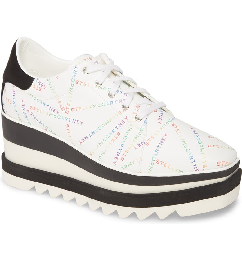STELLA MCCARTNEY Sneak Elyse Logo Print Platform Sneaker, Main, color, WHITE/ RAINBOW