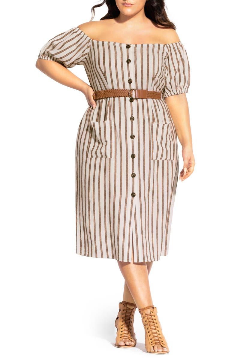 CITY CHIC Stripe Off the Shoulder Linen Blend Dress, Main, color, GINGER STRIPE