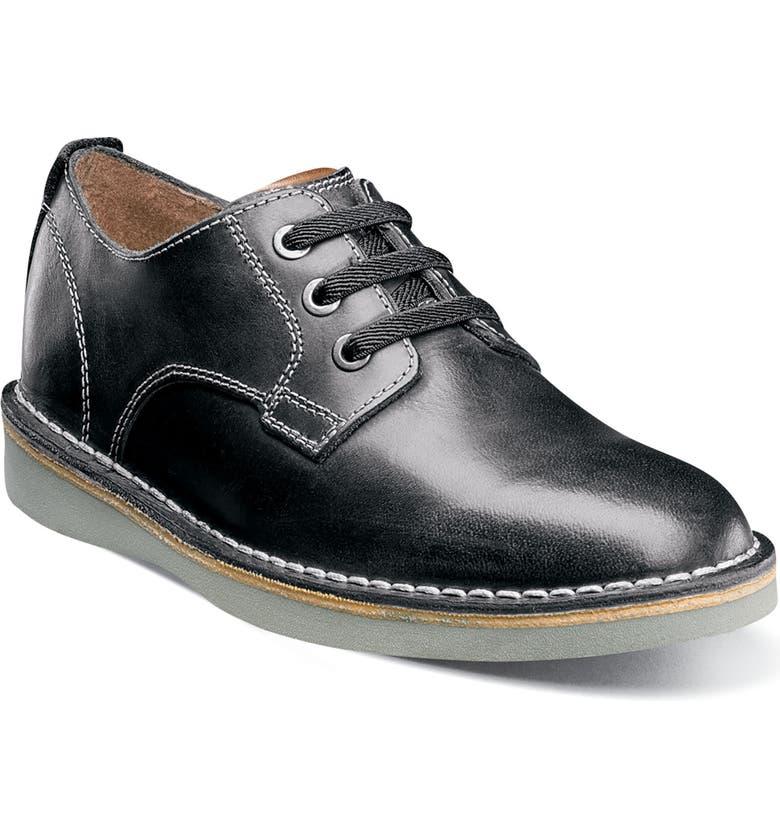 FLORSHEIM Navigator JR Plain Toe Oxford, Main, color, BLACK LEATHER