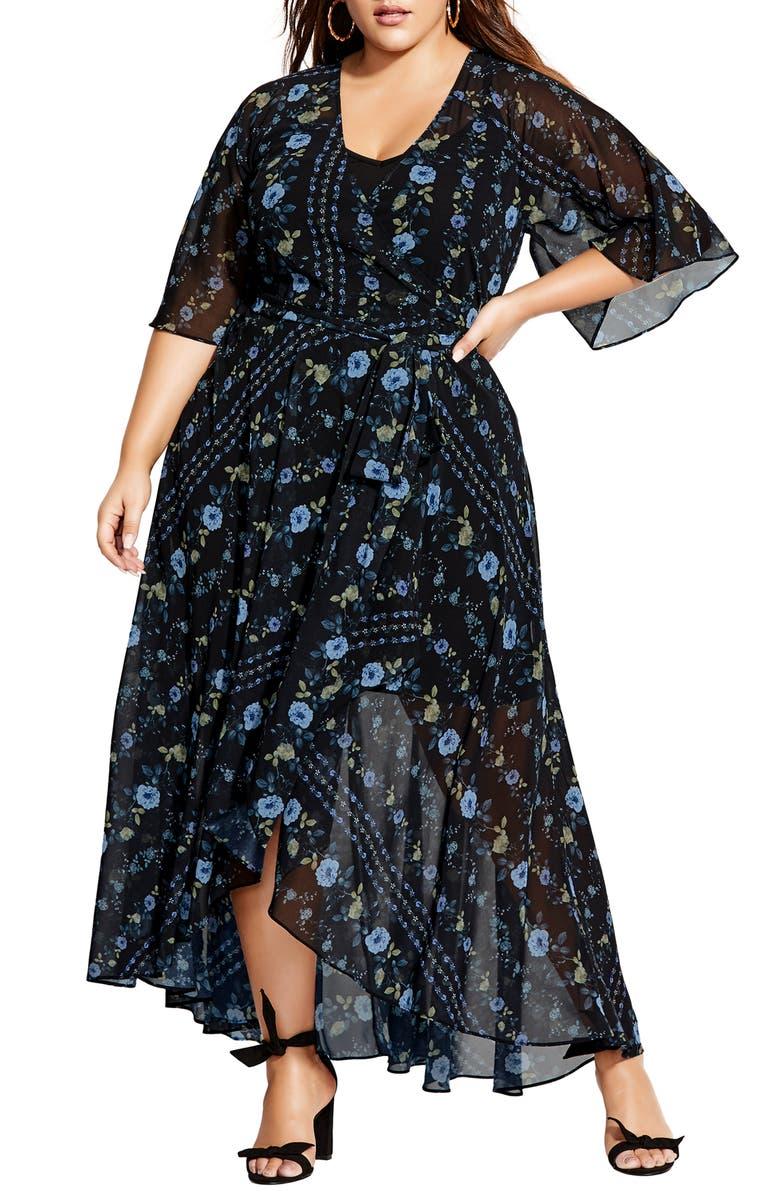 CITY CHIC Floral Print Wrap Maxi Dress, Main, color, 400