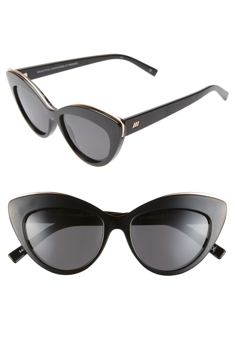 LE SPECS Beautiful Stranger 54mm Polarized Cat Eye Sunglasses, Main, color, 001