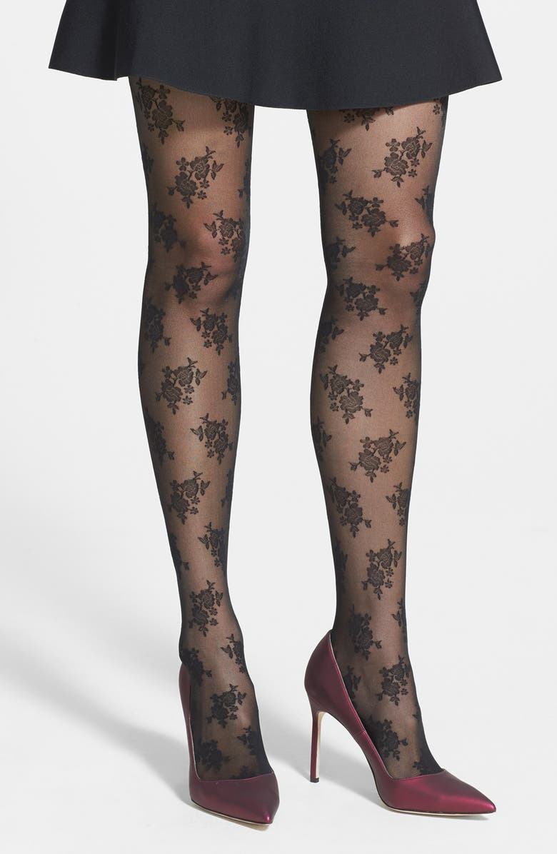 NORDSTROM Floral Tights, Main, color, 001