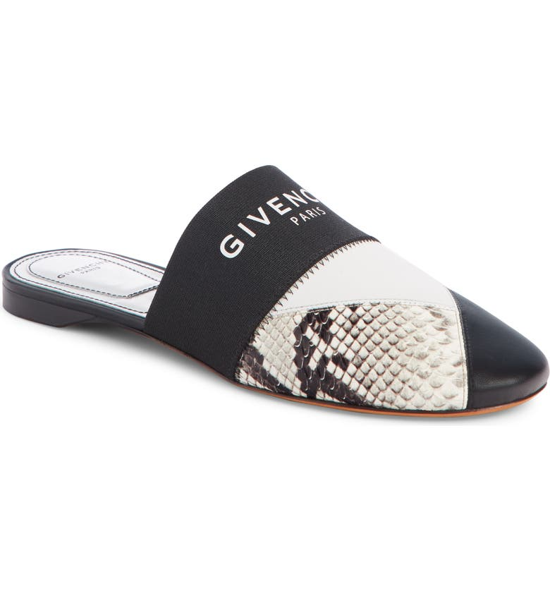 GIVENCHY Patchwork Logo Mule, Main, color, BLACK/ SNAKE PRINT/ WHITE