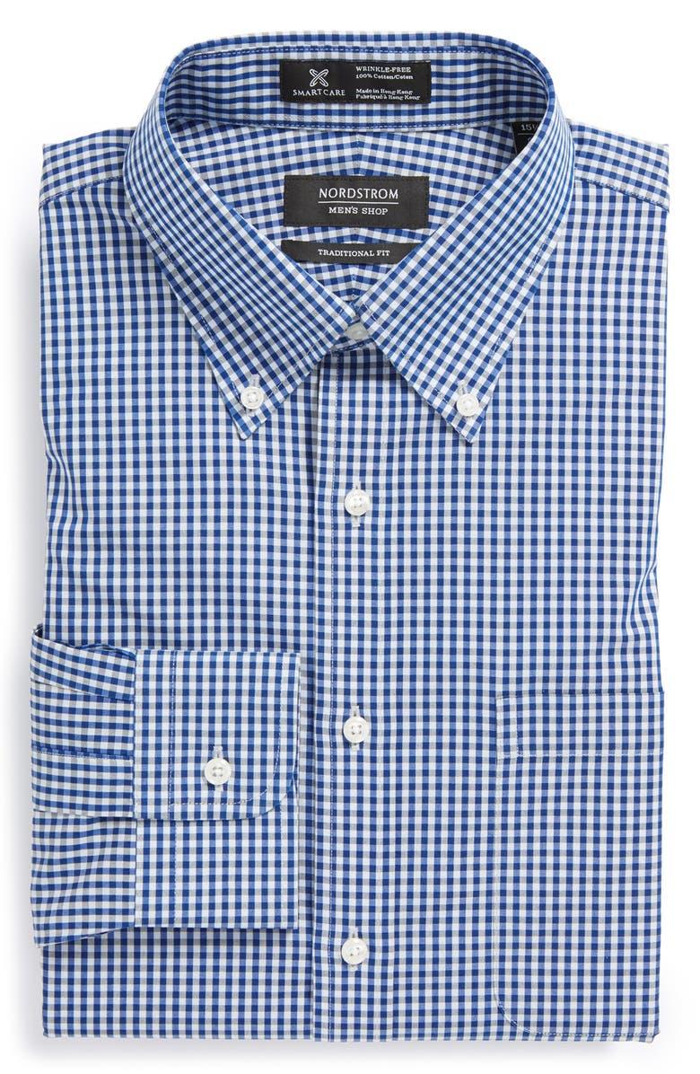 NORDSTROM MEN'S SHOP Nordstrom Smartcare<sup>™</sup> Wrinkle Free Traditional Fit Gingham Dress Shirt, Main, color, 430