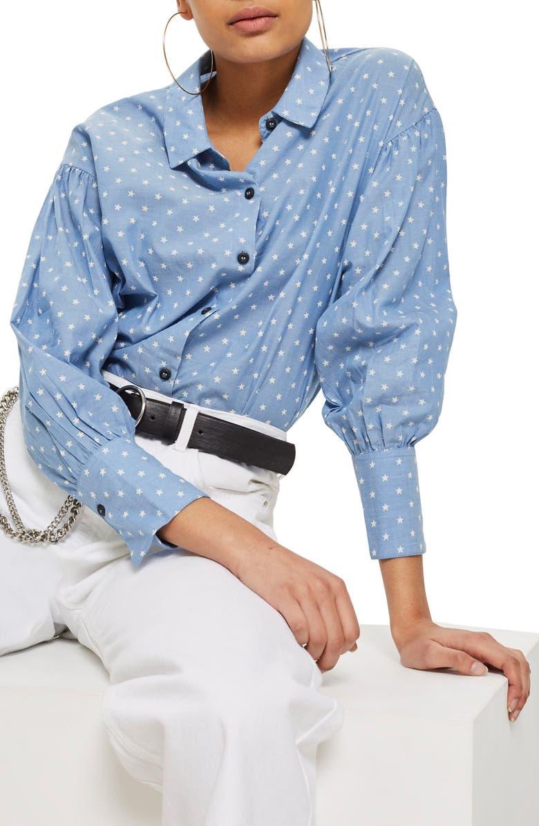 TOPSHOP Star Print Chambray Shirt, Main, color, 400