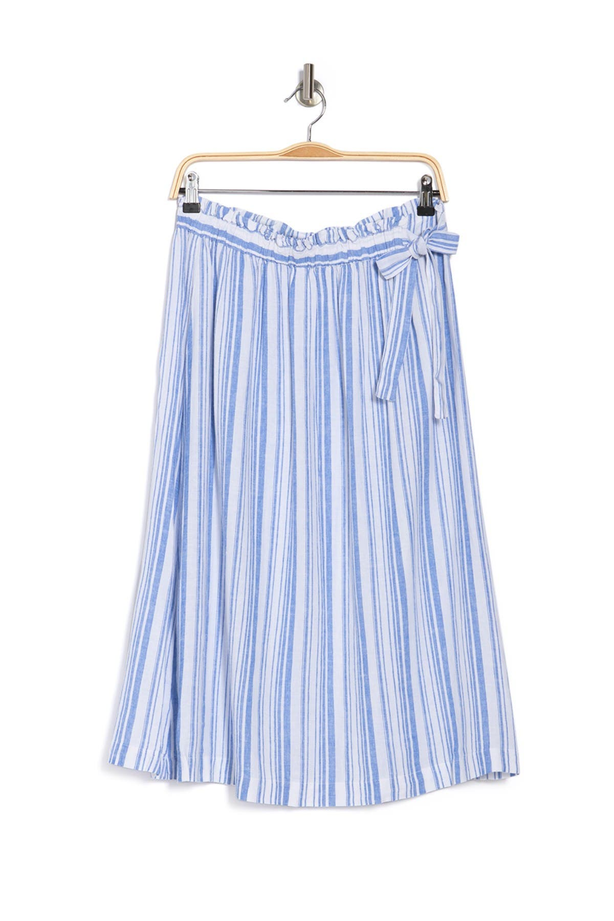 Image of Tommy Bahama Shell Yea Striped Linen Blend Midi Skirt