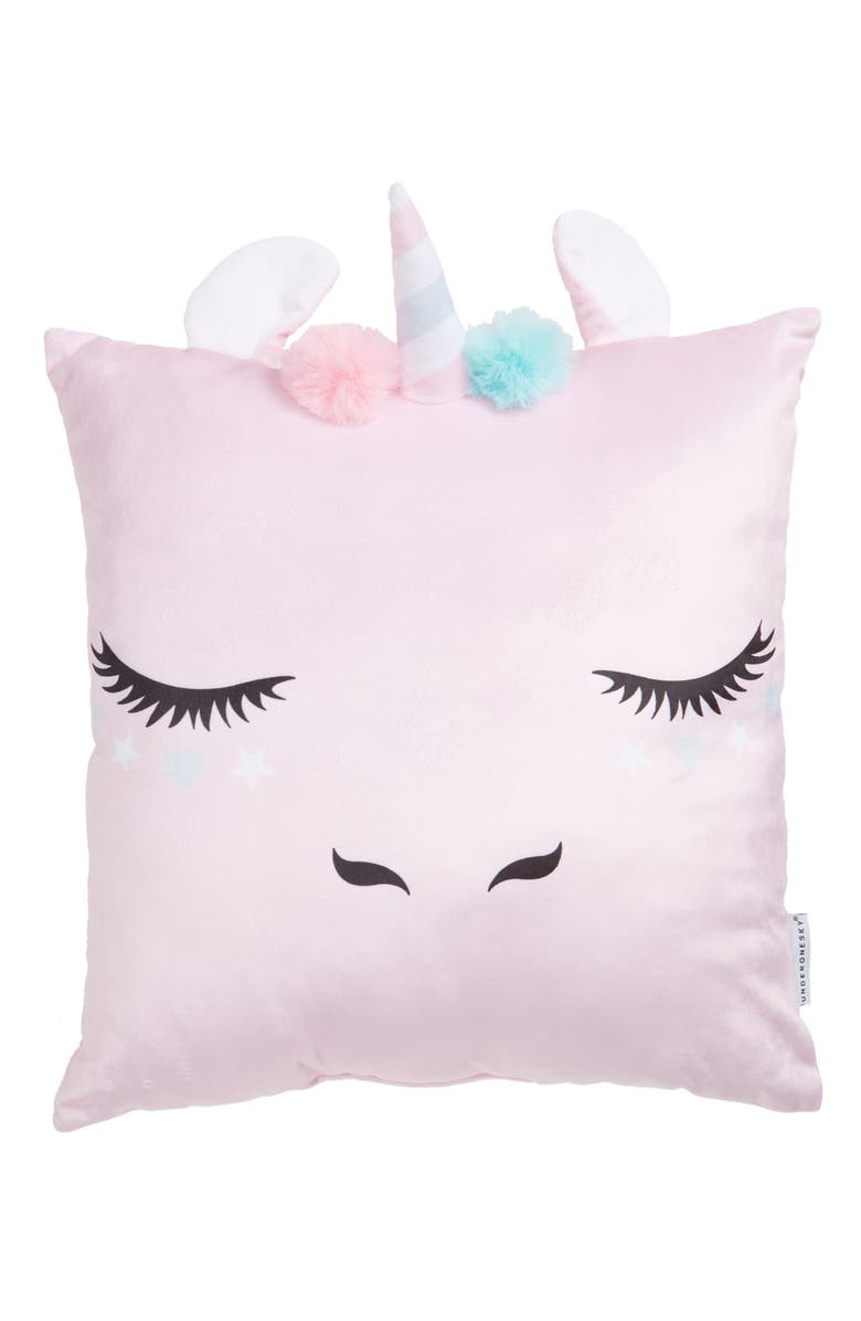 UNDER ONE SKY Unicorn Sequin Accent Pillow, Main, color, PINK
