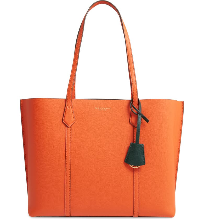 TORY BURCH Perry Leather Tote, Main, color, CANYON ORANGE