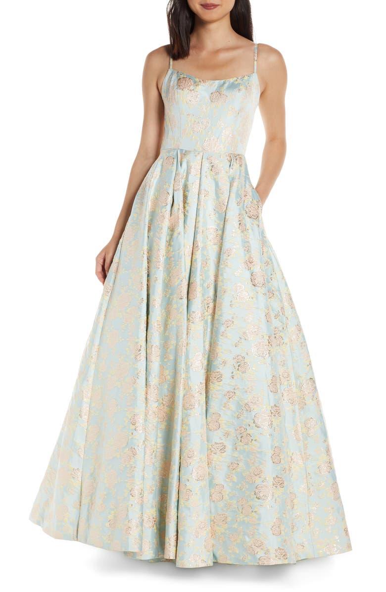 MAC DUGGAL Square Neck Floral Jacquard Prom Dress, Main, color, PASTEL DREAM