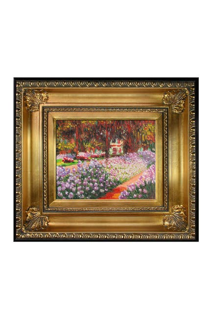 "Image of Overstock Art Artist's Garden at Giverny Framed Oil Reproduction of Original Painting by Claude Monet - 18.5""x16.5"""