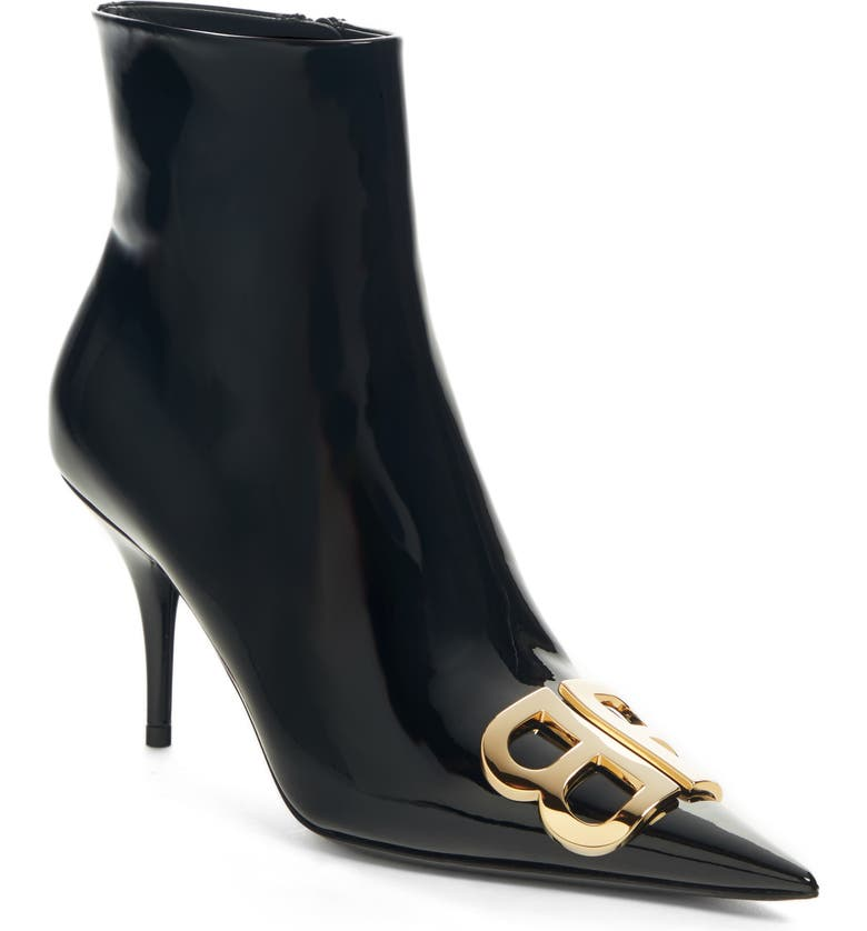BALENCIAGA BB Pointy Toe Bootie, Main, color, BLACK/ GOLD