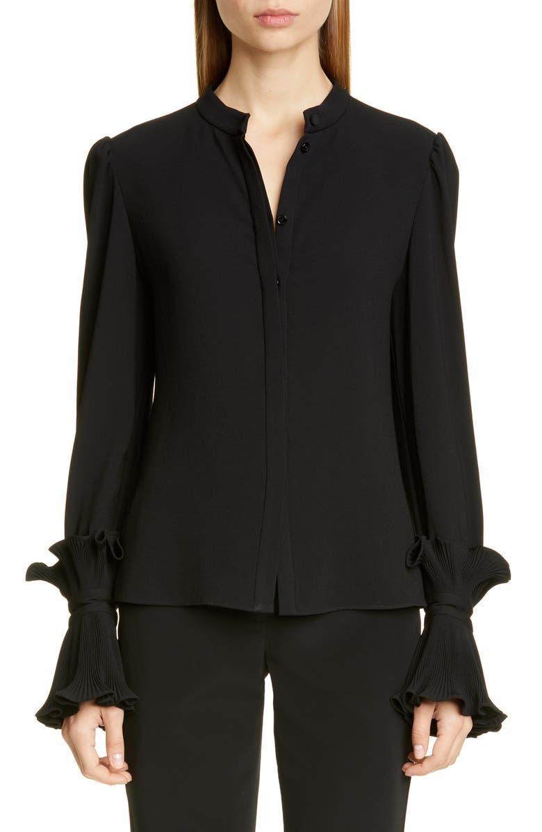 CO Essentials Ruffle Cuff Blouse, Main, color, BLACK