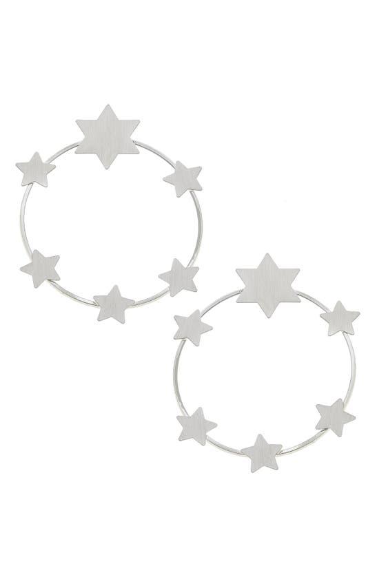 Canvas Jewelry Juliette Star Hoop Earrings In Silver
