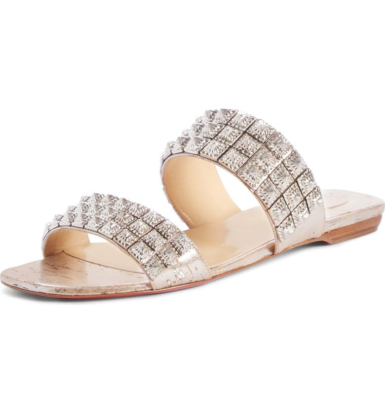 CHRISTIAN LOUBOUTIN Myriadiam Studded Slide Sandal, Main, color, SILVER