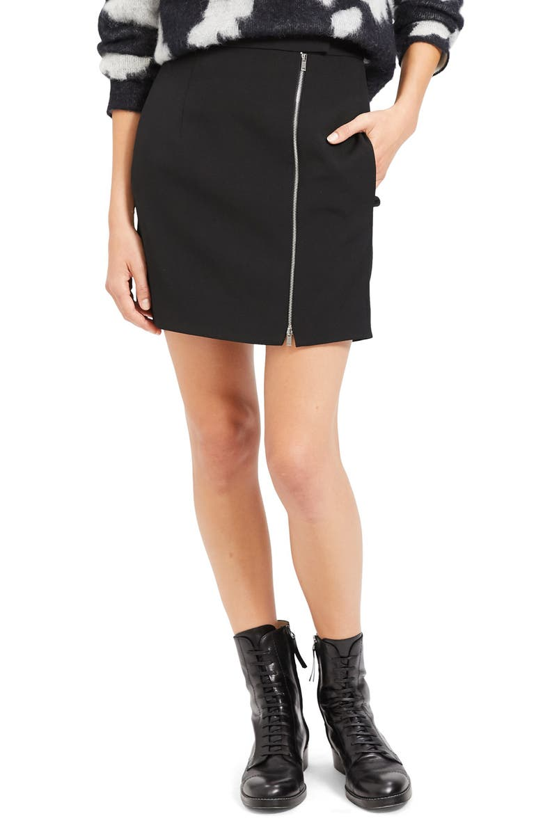 THEORY Exposed Zip Wool Blend Miniskirt, Main, color, 001