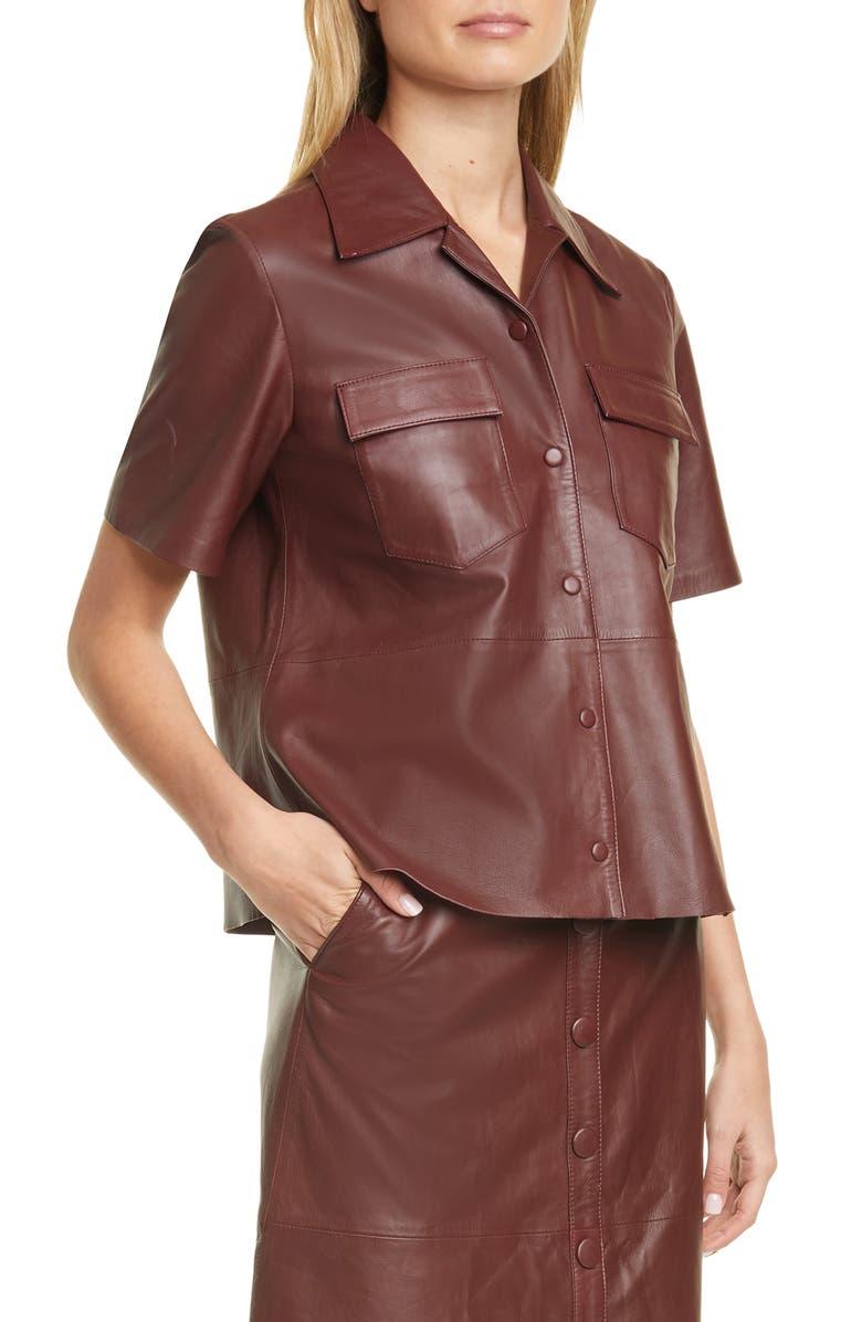 REMAIN BIRGER CHRISTENSEN Sienna Leather Shirt, Main, color, 930