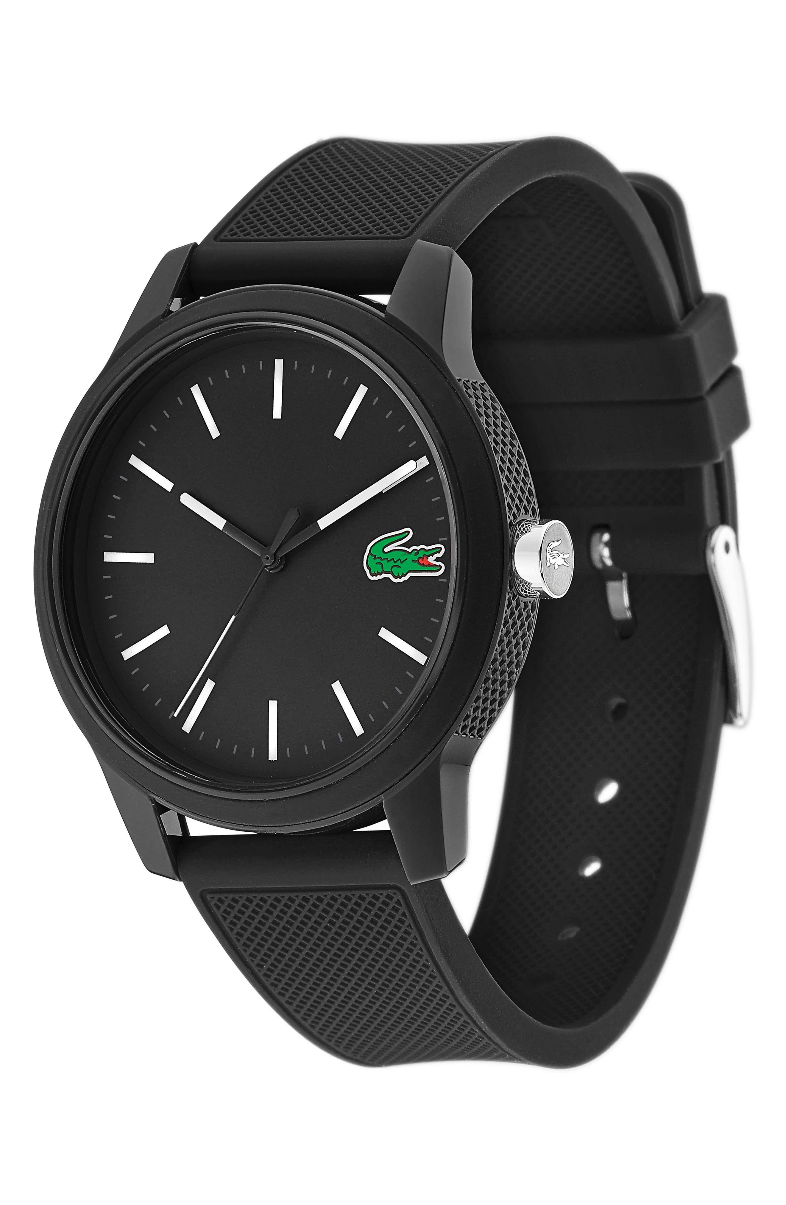 ,                             12.12 Rubber Strap Watch, 42mm,                             Alternate thumbnail 3, color,                             BLACK