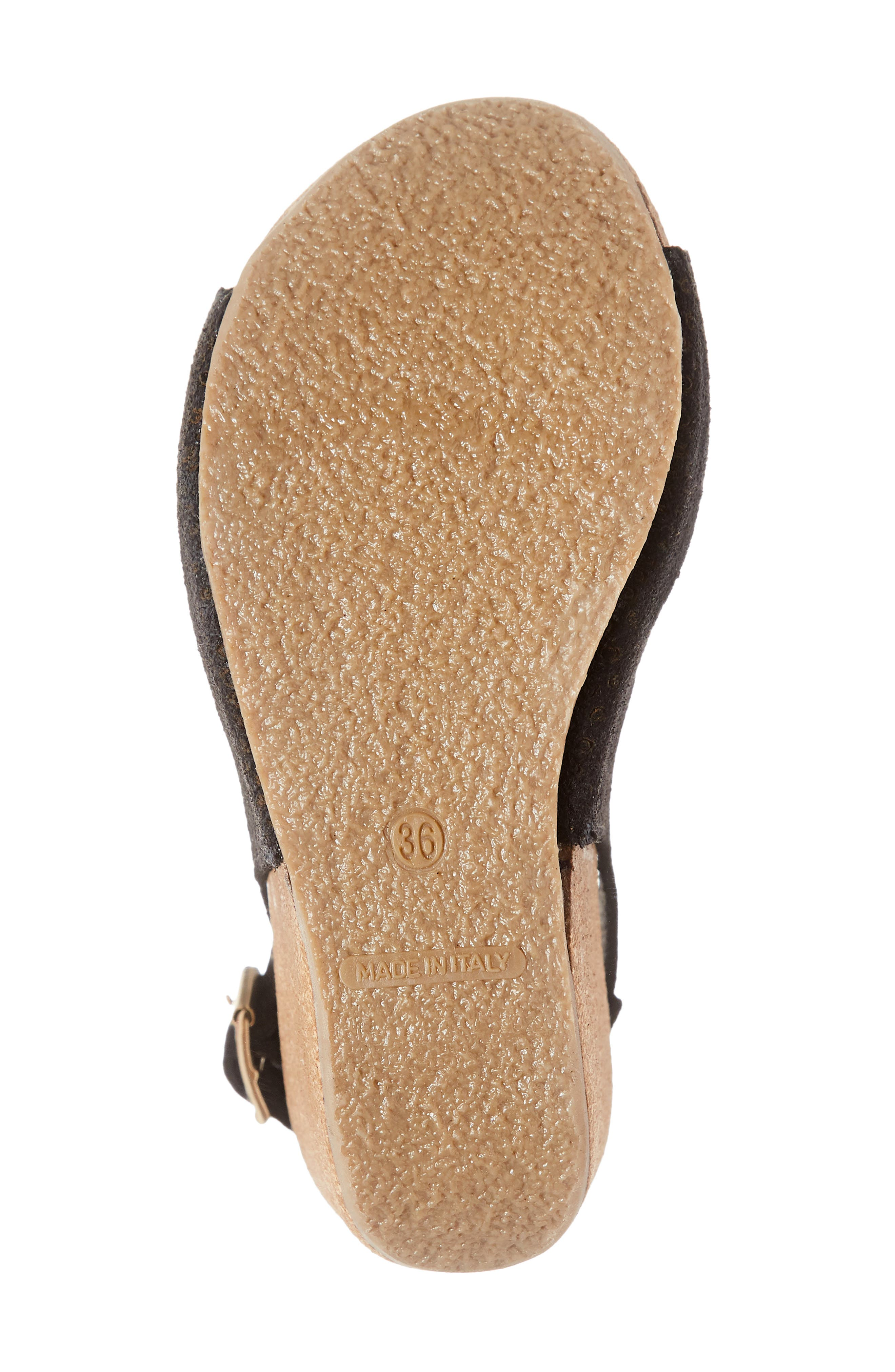 ,                             Savona Wedge Sandal,                             Alternate thumbnail 6, color,                             BLACK SUEDE