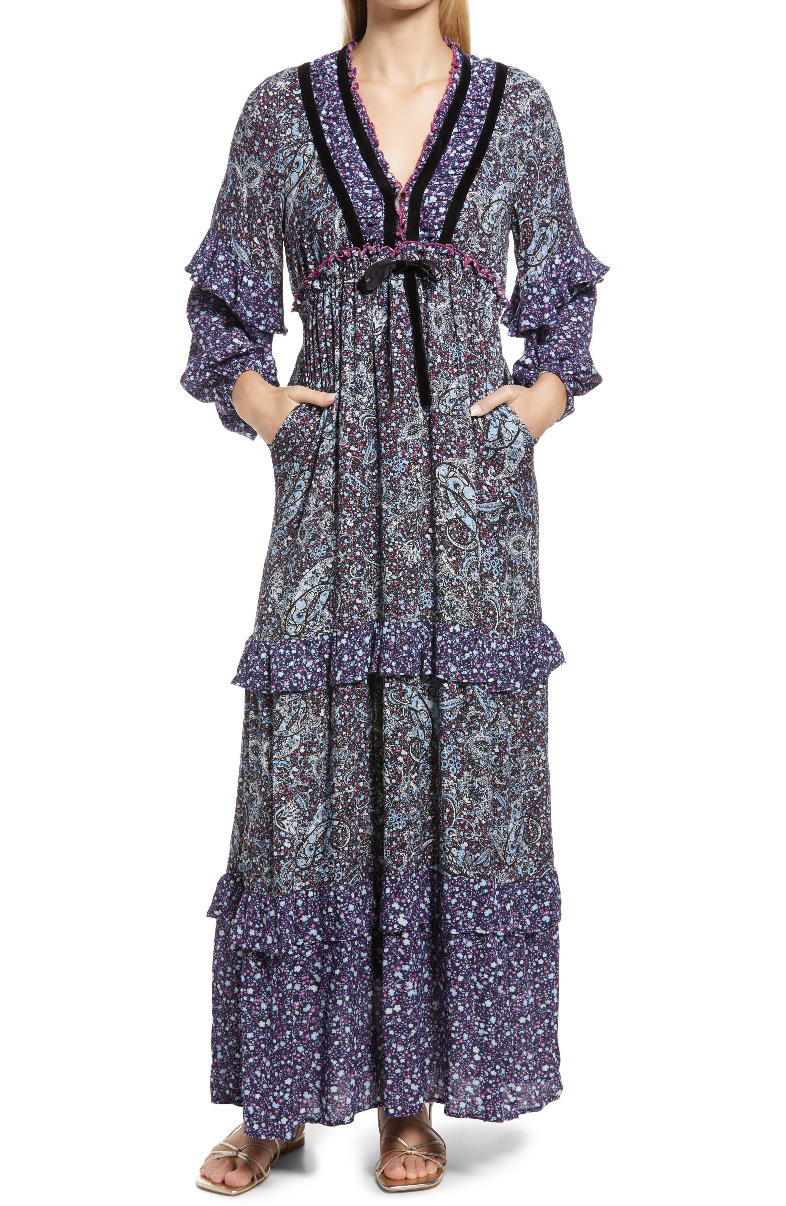 Paisley Metallic Long Sleeve Dress