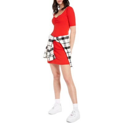 Bp. X Claudia Sulewski Shirred Front Ribbed Minidress, Red