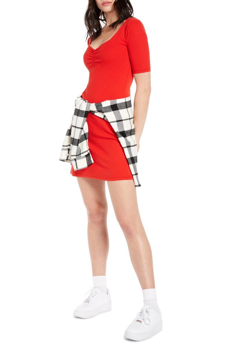 BP. x Claudia Sulewski Shirred Front Ribbed Minidress, Main, color, RED POLISH