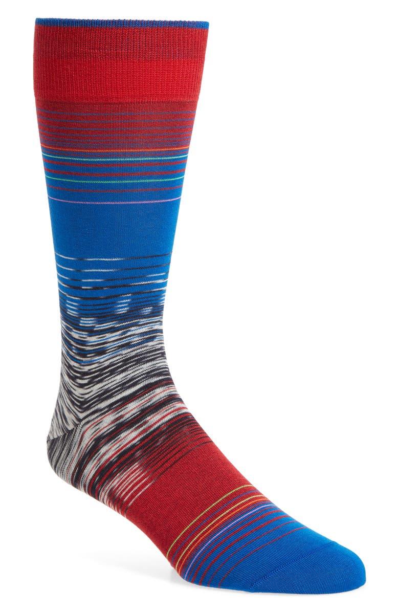 BUGATCHI Stripe Socks, Main, color, RUBY