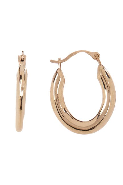 Image of KARAT RUSH 14K Yellow Gold Shiny Stampato Oval 19mm Hoop Earrings