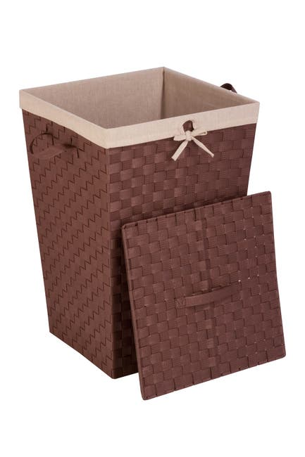Image of Honey-Can-Do Lined Woven Strap Hamper with Lid