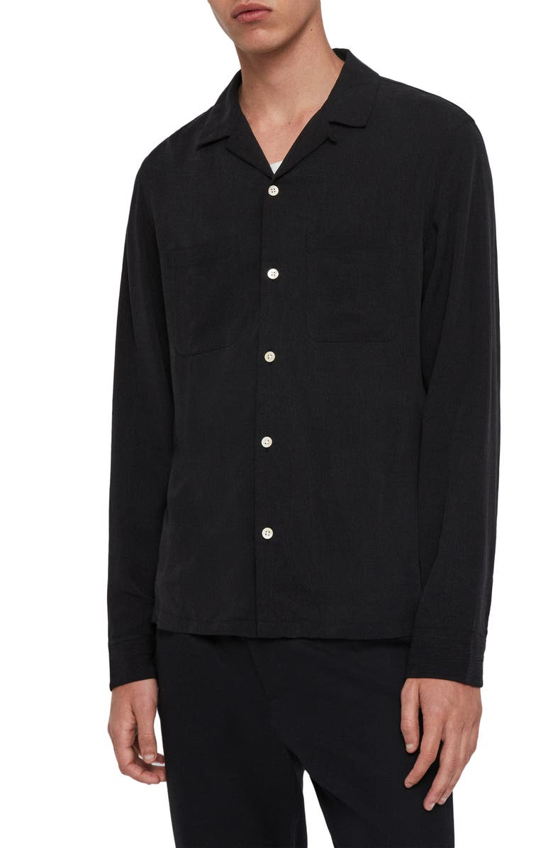 ALLSAINTS Palermo Slim Fit Button-Up Shirt, Main, color, JET BLACK