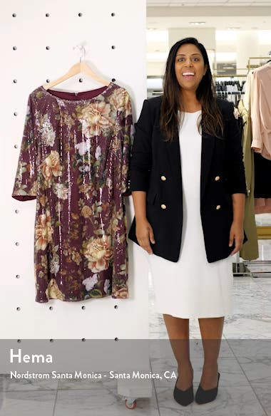Floral Sequin Shift Dress, sales video thumbnail