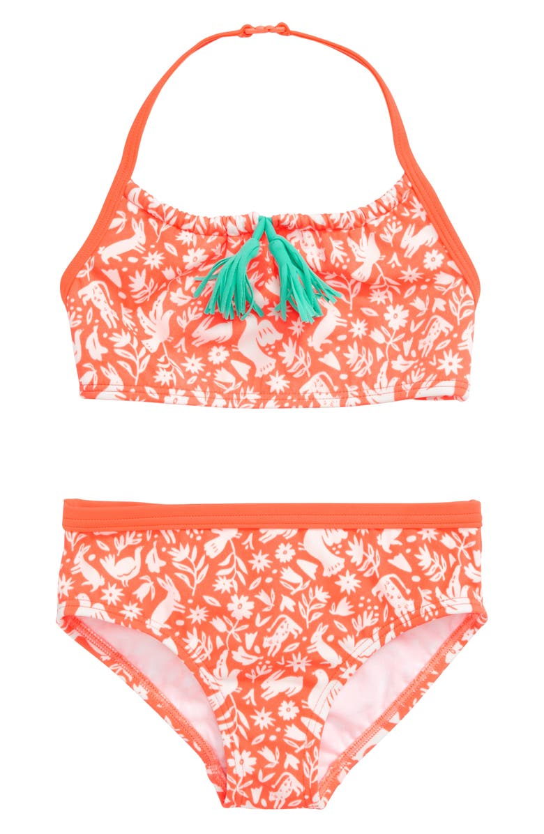 MINI BODEN Tassel Two-Piece Swimsuit, Main, color, NEON ORANGE FOLK FRIENDS
