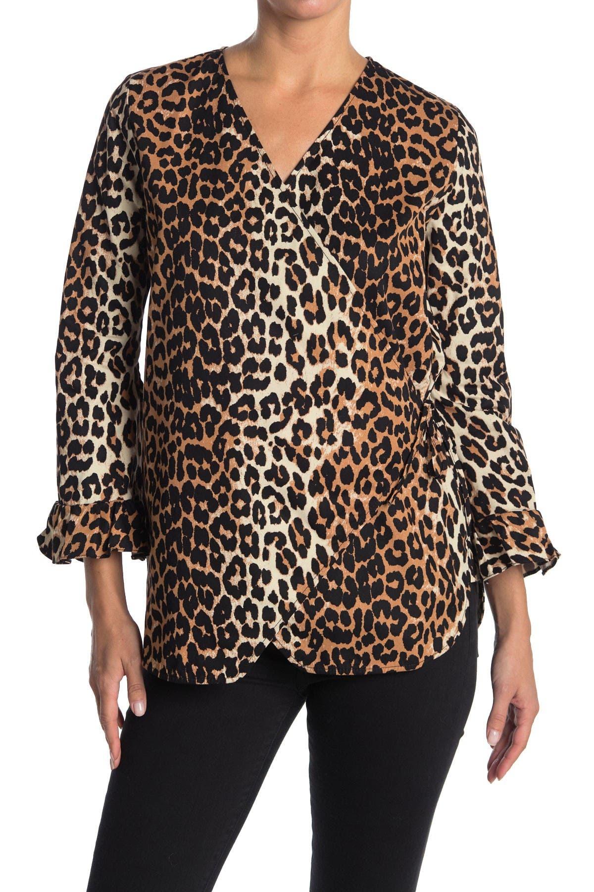 Image of GANNI Fabre Cotton Leopard Blouse