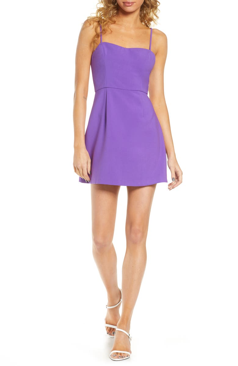 FRENCH CONNECTION Whisper Light Sweetheart Minidress, Main, color, PURPLE OPAL