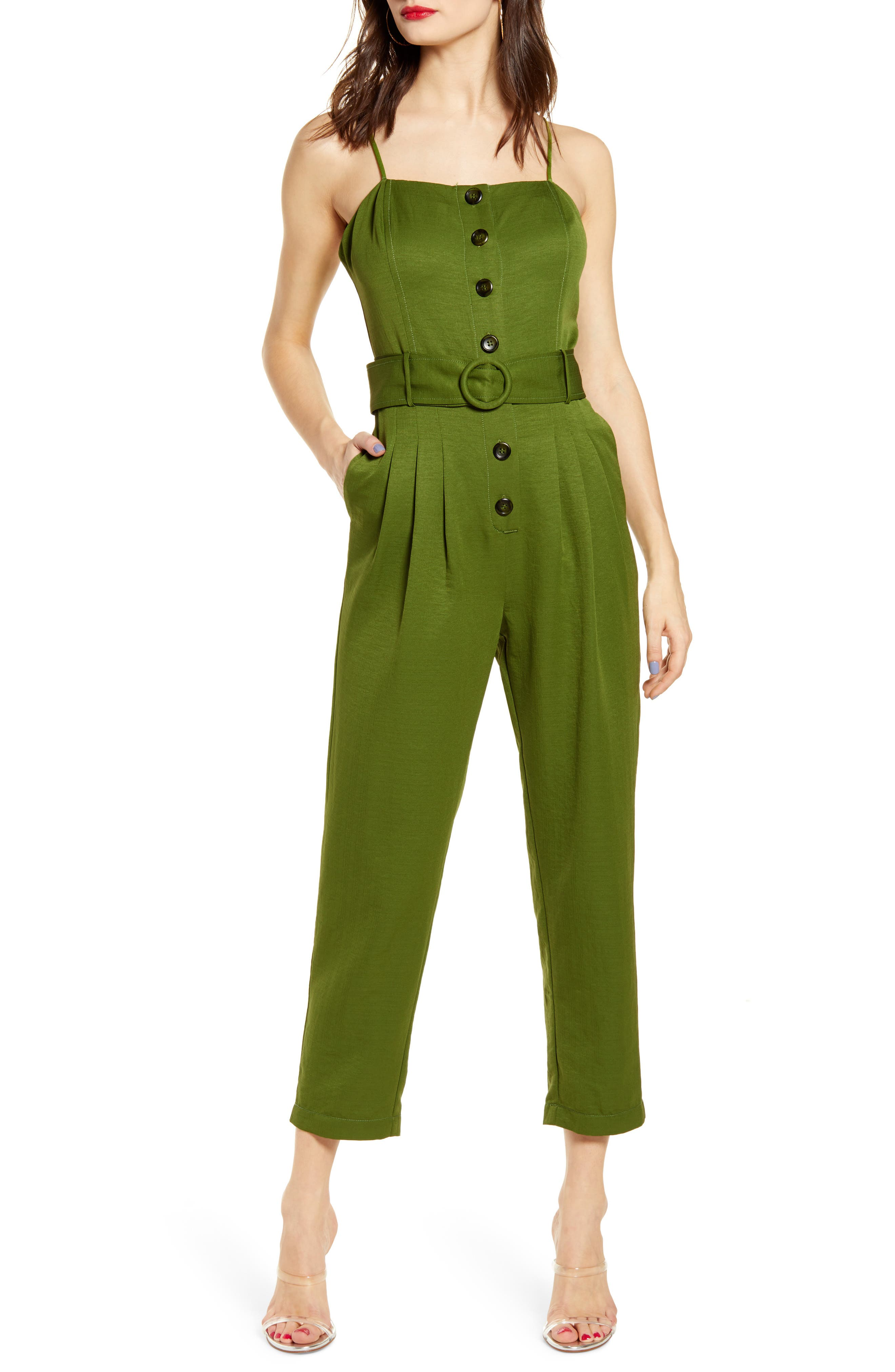 J.o.a. Button Front Jumpsuit, Green